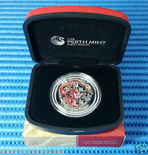 2012 Australia Lunar Year of the Dragon 1 oz Silver Proof Coloured Coin with Box