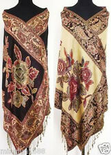Double-Side Shawls Scarf Scarves Black Women Pashmina Floral Silk Cashmere Wrap