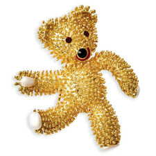 New Gold Plated Jackie Kennedy Dancing Teddy Bear Pin Brooch Camrose & Kross