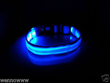 Blue New Fashion Cute LED flashing Fibre Optic Collars For Puppy Cat Pet Dog