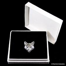 Fox Head Pewter Pin Brooch in Gift Box -Foxes Dog Wolf Handcrafted Badge Present