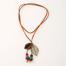 Boho Women Velvet Leather Leaves Bead Pendant Long Necklace