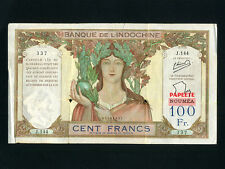 Tahiti:P-16A,100 Francs,1940 * PAPEETE * Athena * PROVISIONAL ISSUE * F-VF *
