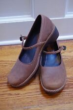 Ecco Brown Leather  Floral Braided Strap Mary Jane Shoes Womens Sz 42 / 11