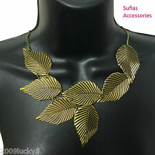 Leaf Statement Necklace Autumn Leaves Gold Bohemian Lightweight Textured Choker