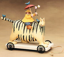 "Girl Riding a CAT Pull Toy - ""April Showers"" - Williraye - 7503 (RARE)"