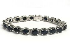 .925 Silver Tennis Bracelet, Natural Oval Sapphire 6.75 Inches , 20 TCW
