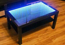 Tisch Couchtisch Glastisch Beistelltisch LED 3D Tiefeneffe 90x55cm Wenge/schwarz