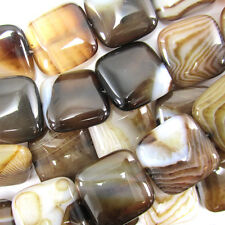 "20mm black brown stripe agate flat square beads 15.5"" strand"