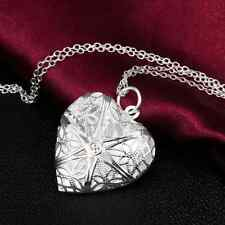 elegant Heart lover locket chain necklace pendant valentine Silver Gift hs1