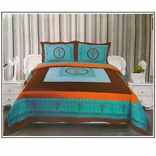 3Pcs Western Design Cross Barbed Wire Quilt BedSpread Comforter Style TURQ-King