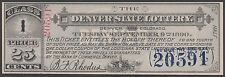 DENVER STATE LOTTERY TICKET 1890 -- RARE -- BR2132