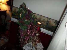 lg. HAND CRAFTED CHRISTMAS FLORAL CENTER PIECE SLEIGH BERRIES FLOWERS RIBBONS
