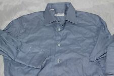 Ermenegildo Zegna Mens Long Sleeve Shirt French Cuff Blue Striped SZ 15 1/2