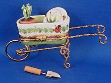 Lily of the Valley Wheelbarrow - authentic FRENCH LIMOGES box