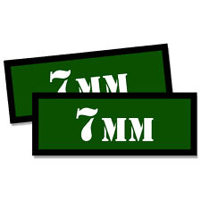 "7MM Ammo Can 2x 7MM Labels Ammunition Case 3""x1.15"" GREEN stickers decals 2 pack"
