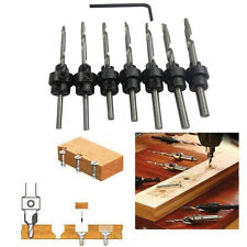 22PC Tapered Drill & Countersink Bit Screw Set Wood Pilot Hole For Wood 7PCS