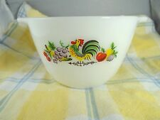 Vintage Fire King Chanticleer Rooster Pattern Handled Mixing Bowl
