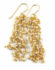 Pearl Earrings 14k gold filled Pearls White Long Cluster Shoulder Duster Seed