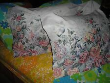 VINTAGE WASMUTTA FLORAL GARDEN GREEN MELON GOLD PINK TAUPE PAIR KING PILLOWCASES