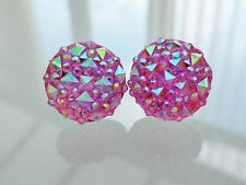 Sparkly Pink Ab Crystal Diamante Rhinestone Glitter Earrings