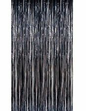 Metallic Tinsel DOOR CURTAIN Backdrop Foil Kids Party Shiny Black Gold Silver