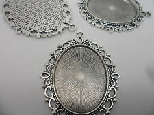 5 LARGE Oval Antique Silver Pendant Bezels,settings.61x48mm,tray 40x30mm.Craft