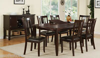 Modern Brown Wood Finish 7Pc Dining Set Table Chair Chairs Dining Room Furniture