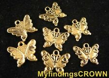 80 Pcs Antiqued gold Butterfly charms FC553