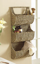 "Large, Sustainable Seagrass 3 Pocket Wall Basket with Woven Handle, 29"" High"