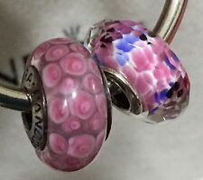 2X Authentic Pandora 925 ale  silver beads  charm pink v 3
