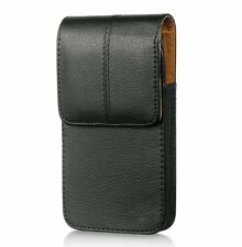 for Samsung Galaxy S4 / S5 / S6 /S7 - BLACK Leather Pouch Belt Clip Holster Case