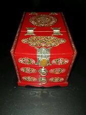 Red w/ Mother of Pearl Inlays 2 Drawer Jewelry Box w/ Fold-Out Mirror