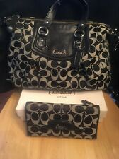 COACH Ashley Signature Black Convertible Shoulder 19242+ Matching Wallet EUC Set