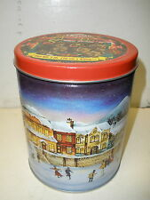 """Lenell shortbread cookies tin 1 pound lb Christmas skating scene 6"""" tall"""