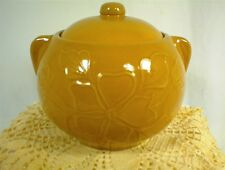 VINTAGE COOKIE JAR & LID TAN STONEWARE CROCK BALL FLORAL PATTERN USA #2 EARS