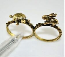 "R84 BETSEY JOHNSON Exquisite ""The Tortoise The Hare"" Rabbit Turtle Dual Ring US"