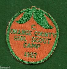 GIRL SCOUT PATCH - 1957 CUT EDGE - ORANGE COUNTY GIRL SCOUT CAMP - FREE SHIPPING