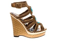 $1,775 NEW ROBERTO CAVALLI LAMINATED NAPPA WEDGE PLATFORM SHOES 36.5 - 6.5