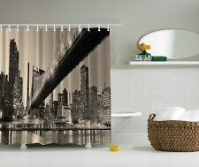 New York City View Digital Print Shower Curtain NY Cityscape Bridge Bath Decor