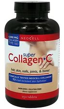 NeoCell Super Collagen +C 6000mg. Collagen Type 1 & 3, 250 Tablets Exp01/19 NEW