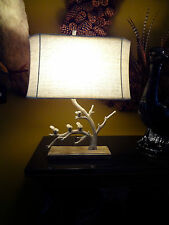 POTTERY BARN RUSTIC FAUX BOIS IRON BIRDS TREE BRANCH TWIG TABLE LAMP & SHADE