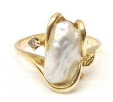 Vtg 14K Yellow Gold Large Mabe Pearl Ring Sz 6 Diamond Accent Ornate Estate Leaf