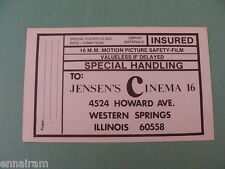 16 MM Motion Picture Film Processing Mailing Label Postcard