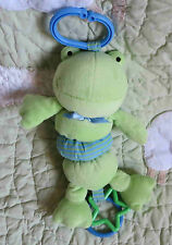 """Koala Baby Green Frog Rattle Ribbet Jiggle Baby Boy or Girl Stroller Toy 10"""" EUC"""