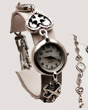 INFINITY Women's Antique Jesus Cross Heart Link Sterling Silver 925 Analog watch