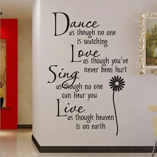 Dance Love Sing Live Wall Decal Stickers Quotes Vinyl Art DIY Mural Home Decor