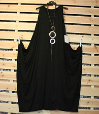 BNWT MADE IN ITALY FABULOUS QUIRKY BLACK DRAPED DRESS LBD SZ 14/16/18/20/
