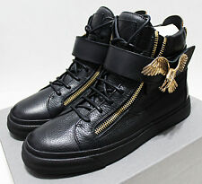 $1,355 Italy GIUSEPPE ZANOTTI Gold-Brass Flying Eagle High-Top Sneakers 8-US 41
