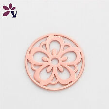 22mm flower Rose Gold discs Round for Glass Living Memory Locket Floating Charm